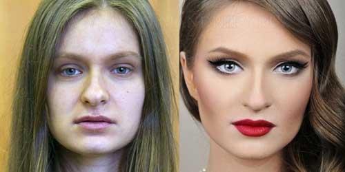 до и после нанесения макияжа