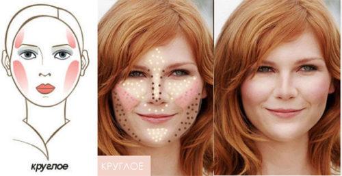 нанесения макияжа на круглое лицо