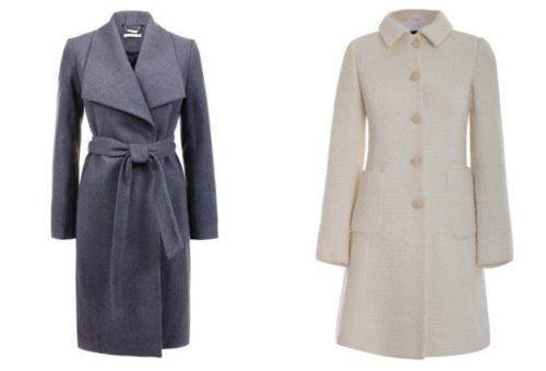 светлое драповое пальто